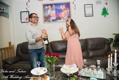 celebrating the 10th wedding anniversary.