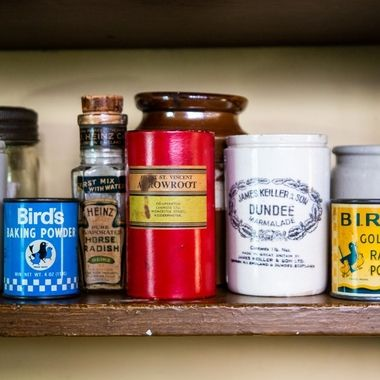 Old food containers from the last century.