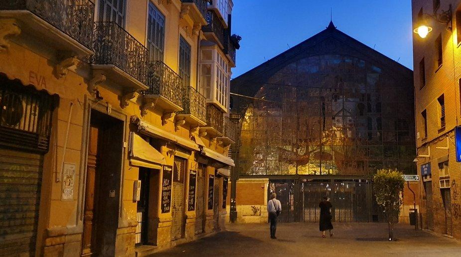 Malaga market at night