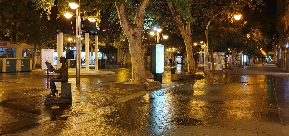 Street in Cordoba late at night after washing down
