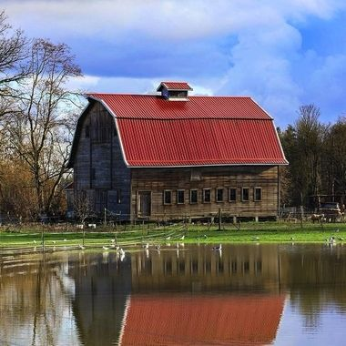 The red barn by the river