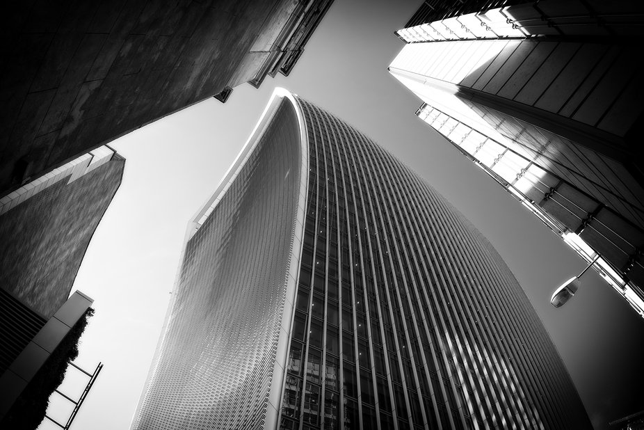 Low angle shot of a downtown London skyscraper