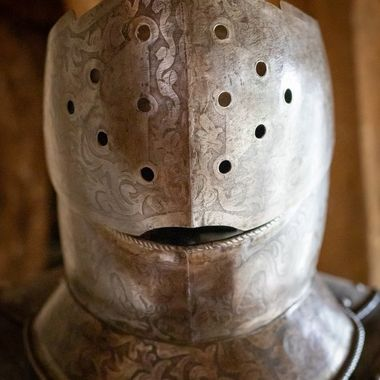 The helmet from a medieval suit of armour.