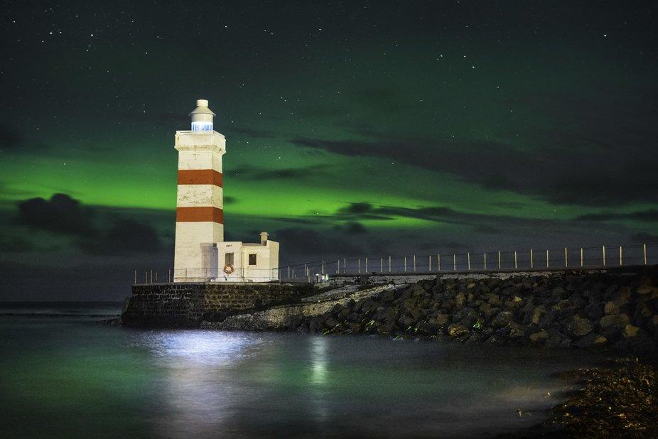 Garður lighthouse near Keflavik, Iceland. February 2017.