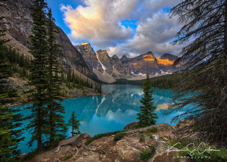 Moraine Lake, located in Alberta, Canada and part of the Fay Glacier