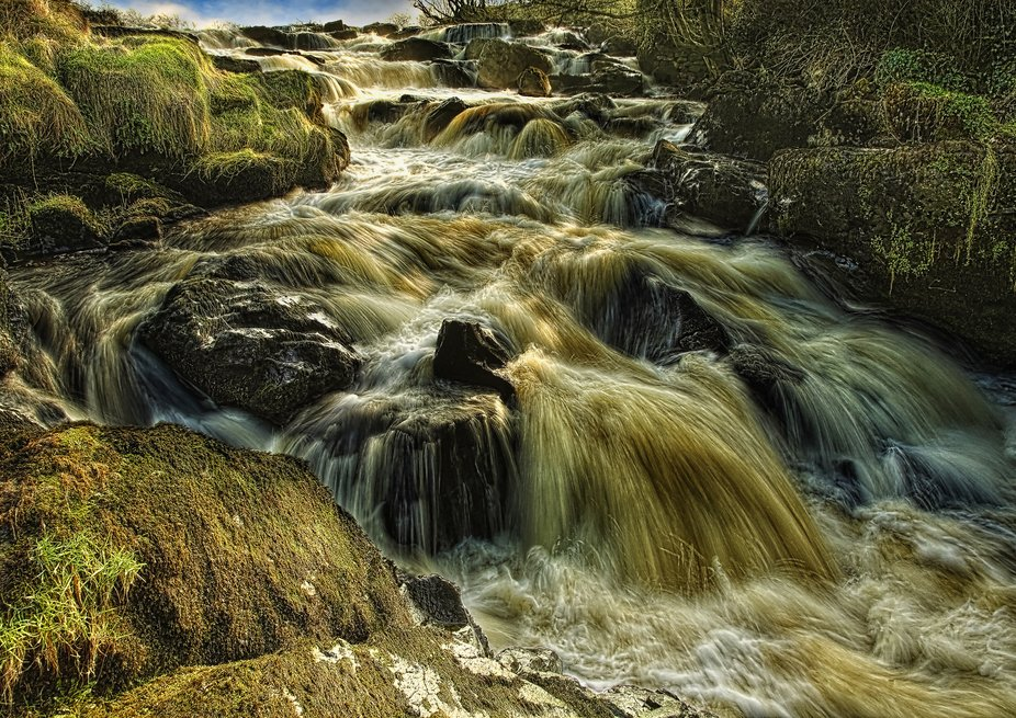 Famous falls on the Bush river. Near the town of Bushmill, Co. Antrim, Northern Ireland.