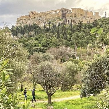 Lush hillside leading up to the Acropolis in Athens!