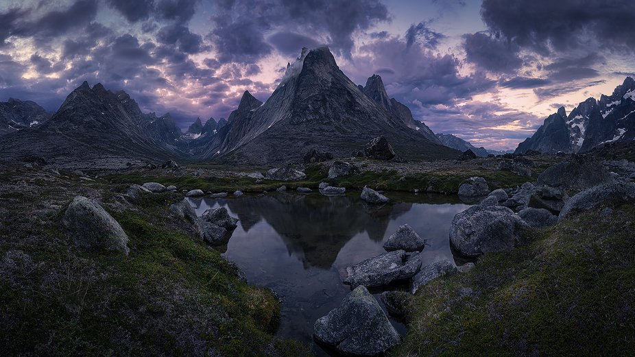 Panorama of a remote mountainous valley in Southern Greenland.
