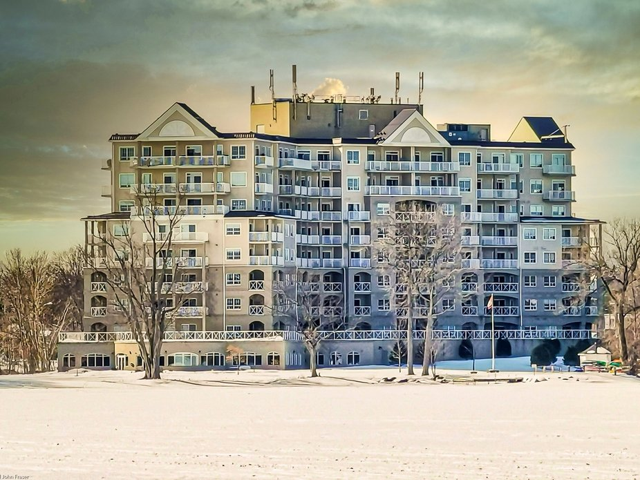 Condo overlooking Lake Couchiching in the winter.