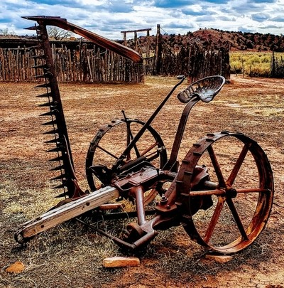 Abandoned Antique Thresher at Hubbell Trading Post on Navajo Reservation....National Historic Site
