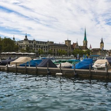 A Shot taken during a Sunday afternoon walkabout in Zurichglimpse of old town Zurich across the river Limmat