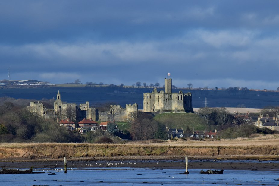 Warkworth Castle at Warkworth Northumberland GB.