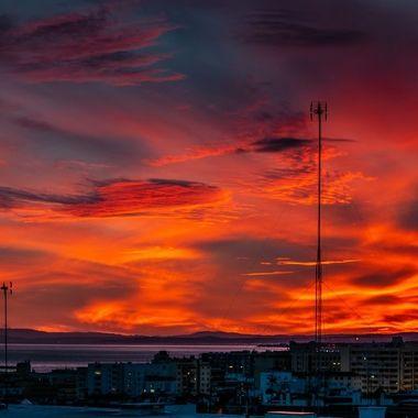 golden orange sunset landscape from Marbella, Spain