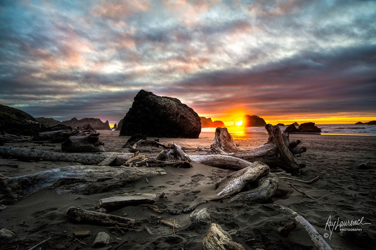 This image of Face Rock was captured at Sunset in Bandon, Oregon.