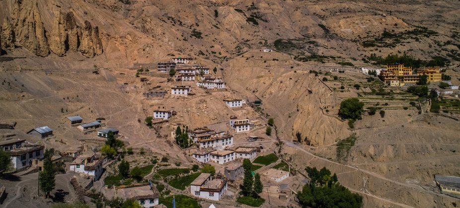 An aerial view of Dhankar Village situated in himachal pradesh India .