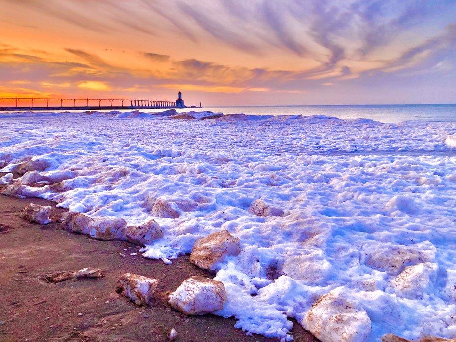 Michigan City Winter Sunset