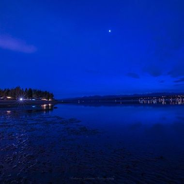 Blue hour with the Olympic Mountains, Hood Canal, Washington, USA