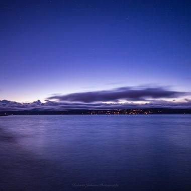 Blue hour with the Olympic Mountains, Hood Canal, Washington, USA