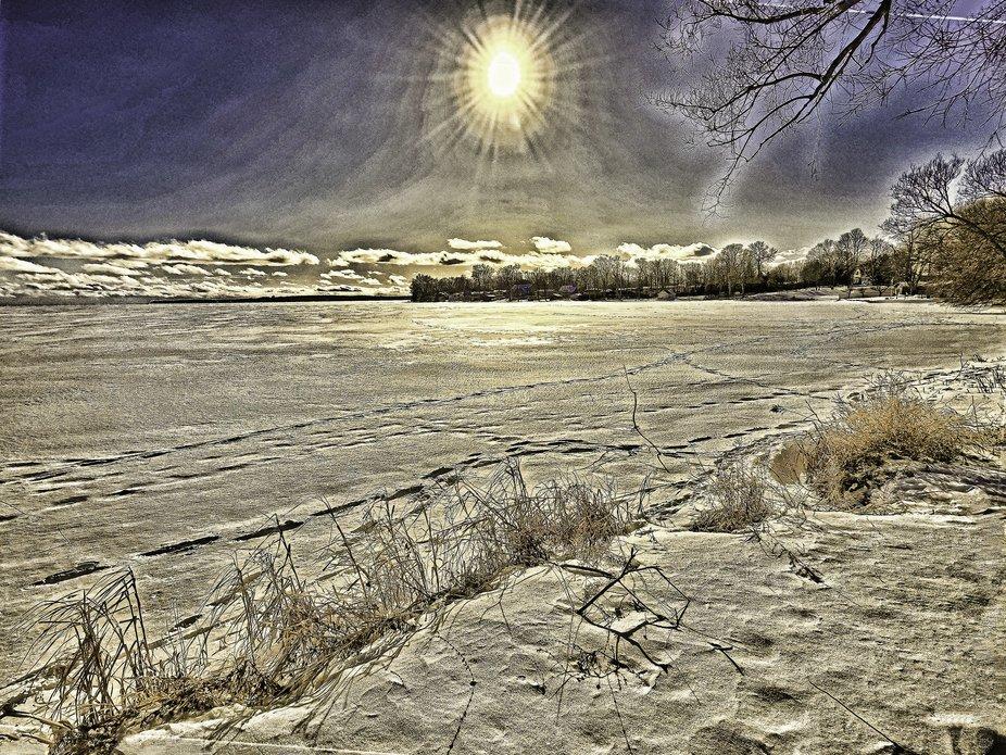Frozen Lake Couchiching at Pumpkin Bay