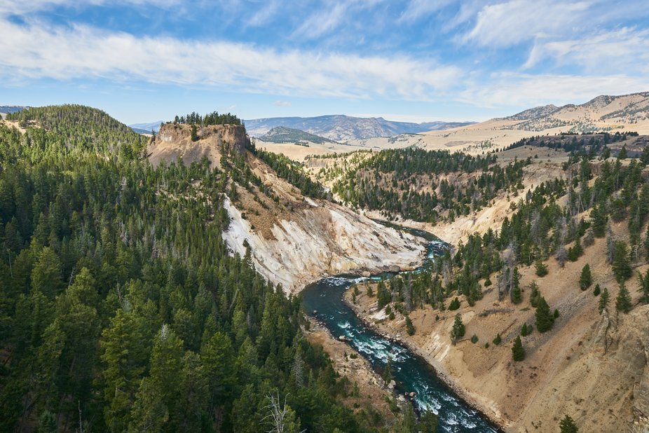 Beautiful view from Calcite overlook in Yellowstone.