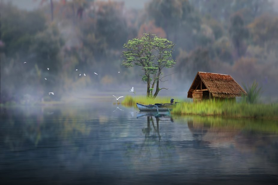 this is a composite photo, describe everything about calmness. i hope  you enjoy and it can bring...
