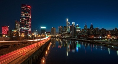 Philly skyline reflection just before dawn.