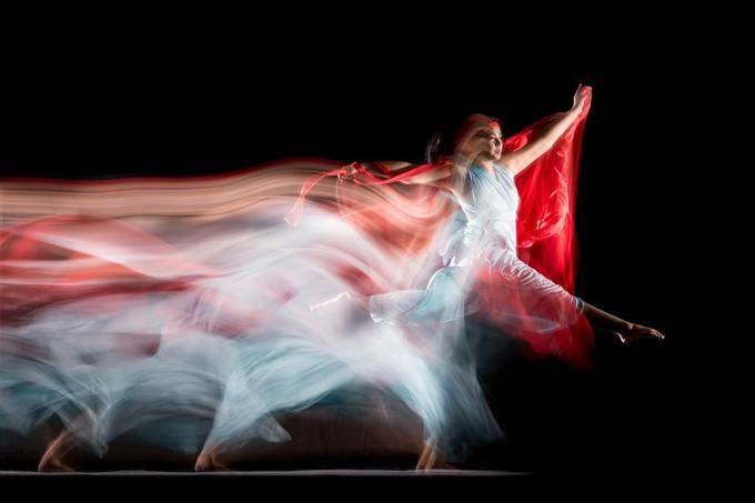 The dancer moved between two permanent lights during a long exposure. Two flashes were fired on the second curtain.  Model: @portfoliosandy 20200213 038 Sandy