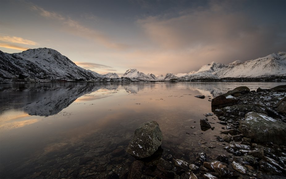 This early morning sunrise shot was taken in the Fredvang islands of Lofoten. The calm waters all...