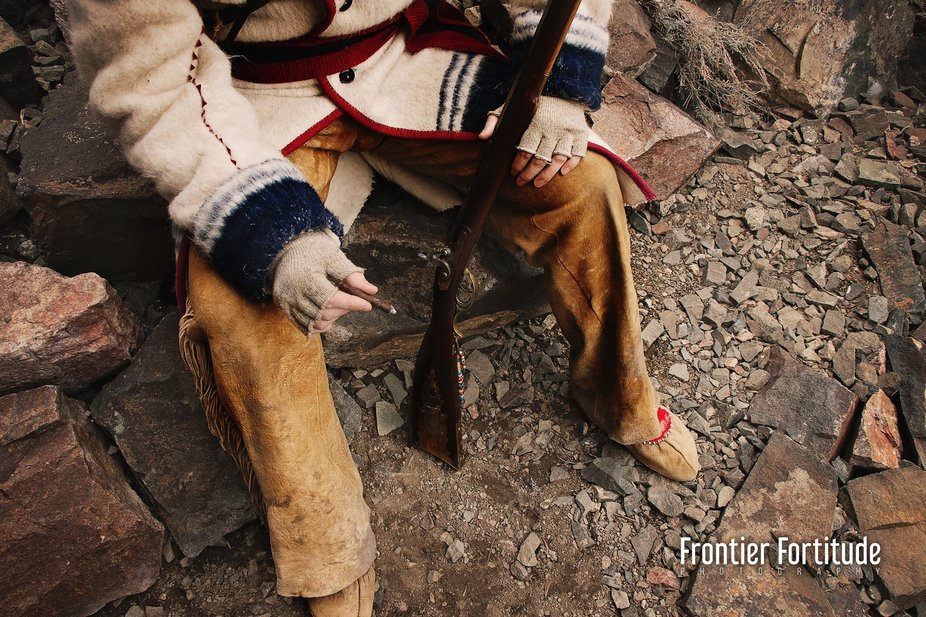Re Enactor shoot in mountain man attire