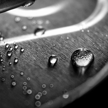 close up of droplets in black and white