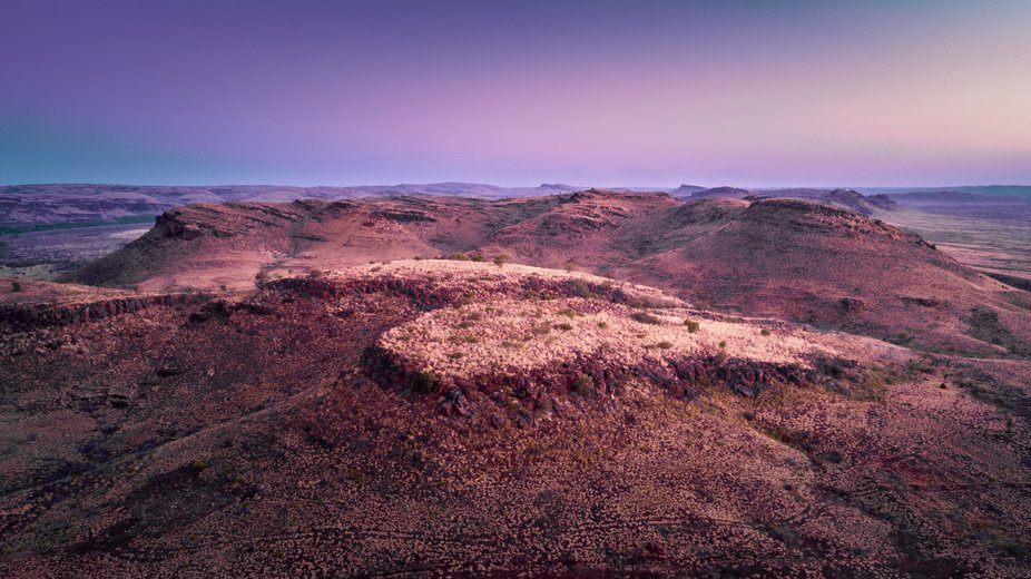 First light hitting the Fortescue ranges just south of Karratha Western Australia