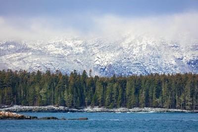 Snow fall on Cadillac Mountain