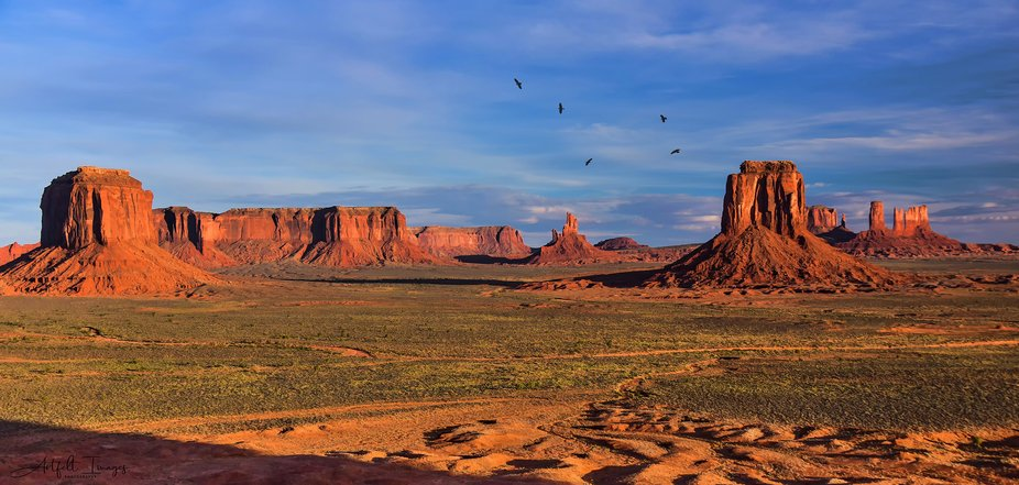 A panoramic photo taken from Mystery Valley adjacent to Monument Valley, Arizona