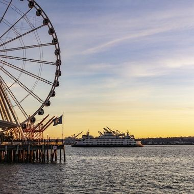 Seattle's Great Wheel & Ferry At Sunset