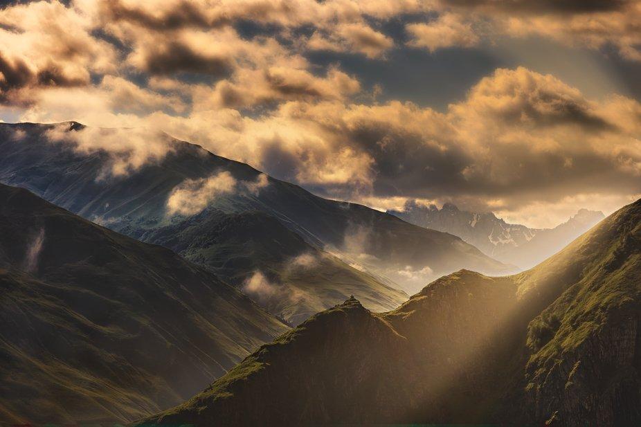 Sunrise on Caucasus mountians.