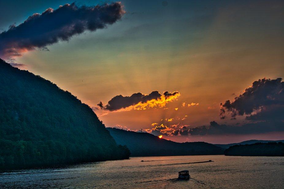 A shot from a bridge toward a beautiful sunset