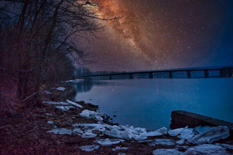 Night capture of a cold river