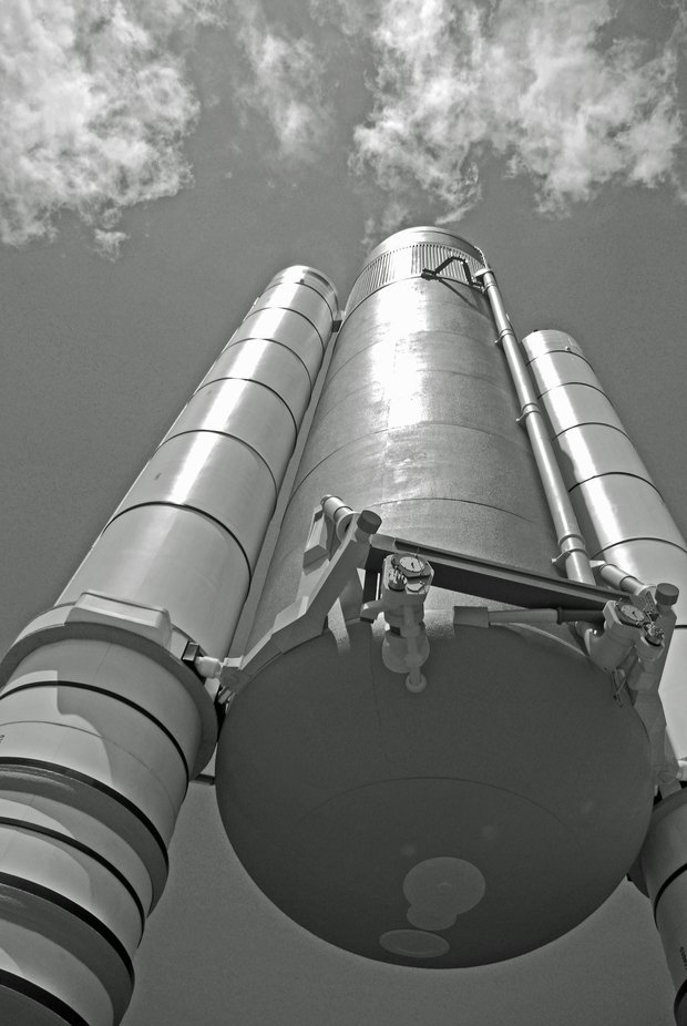Space shuttle solid fuel boosters and Main Tank at Kennedy space centre FL.