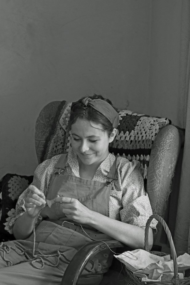 Land army girl, at Beamish museum UK.
