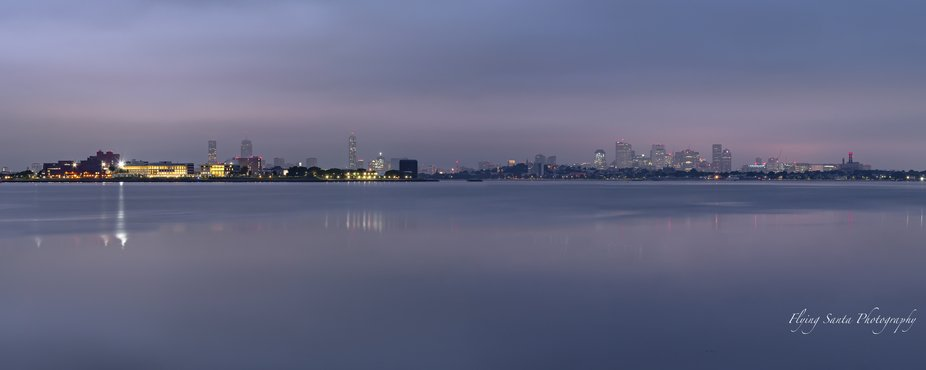 My early blue hour 5 picture pano, of the city of Boston,