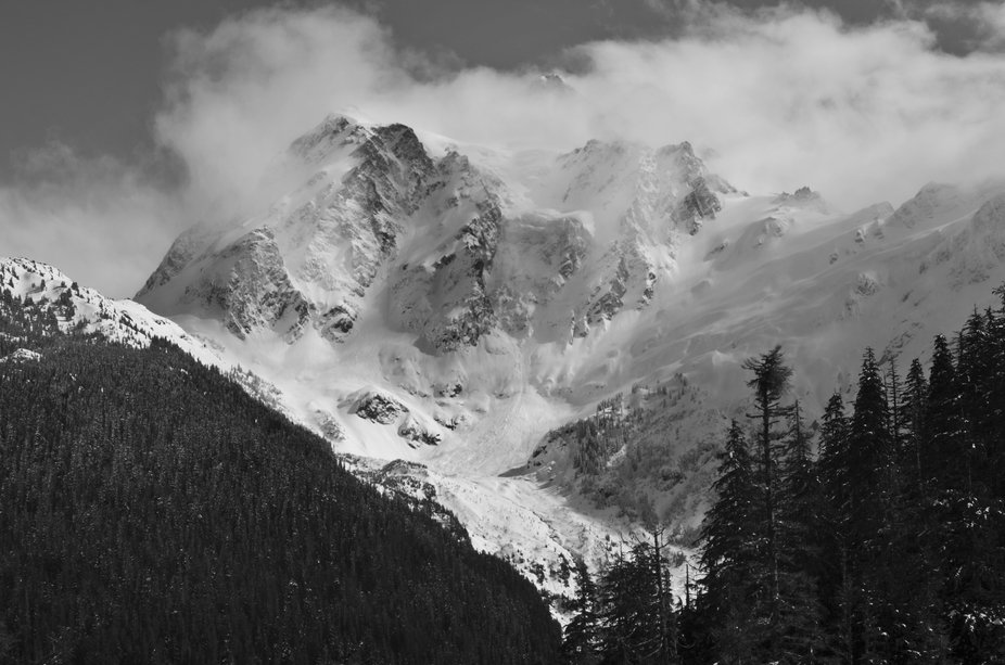 Mount Shuksan during a snow storm.