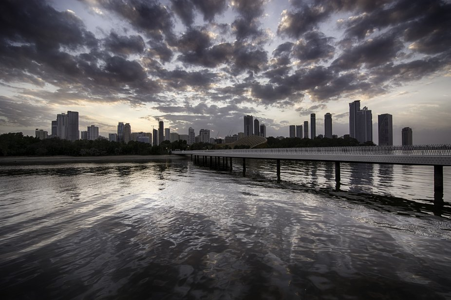 From the archives. Sunset over Sharjah lagoon, UAE.