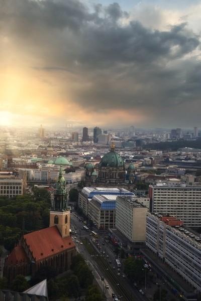 Last light in Germany capital.