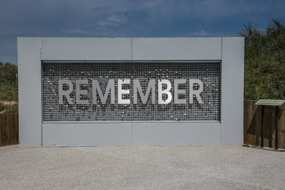 A reminder at the Canadian Juno Beach Center.