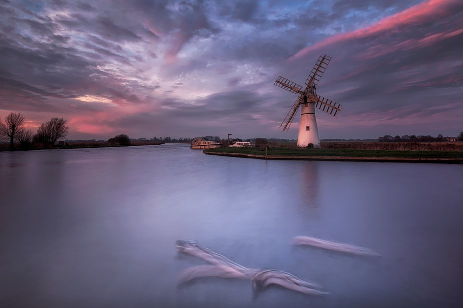 Thurne Windmill and some passing ducks