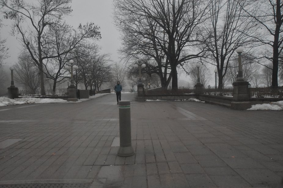 Normally very busy downtown park has one person.  It's a cool misty morning when everyon...