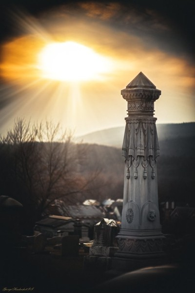 Watsontown Cemetary Monument Sunset