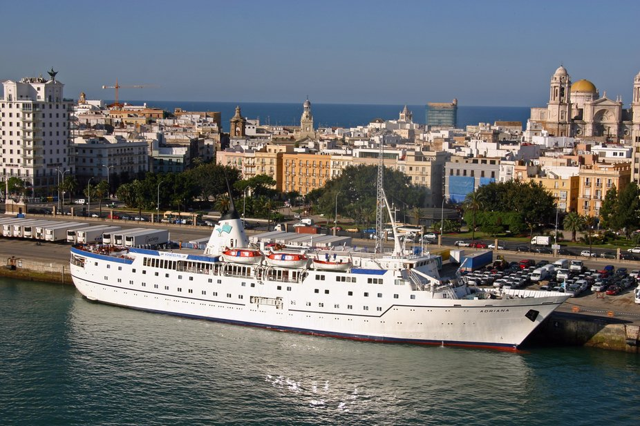 The yacht Adriana docked in Cadiz Spain