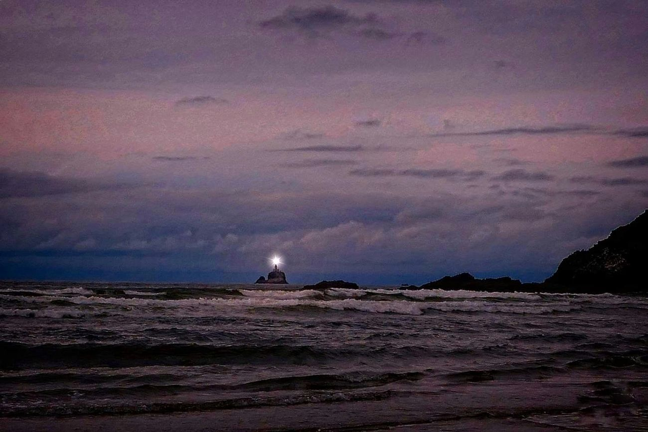 Tillamook Rock Lighthouse viewed from Indian Beach in Cannon Beach, Oregon.