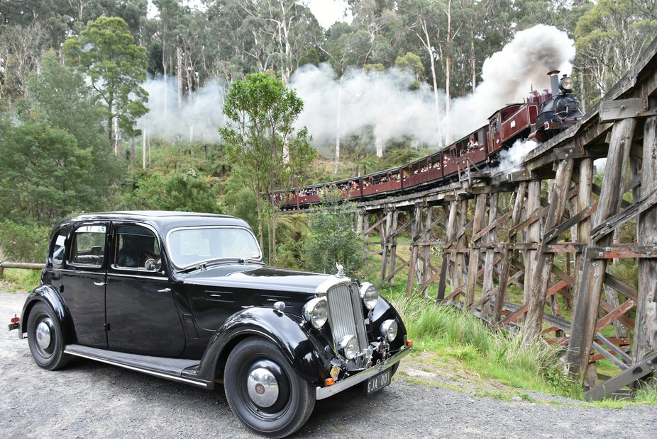 Old Rivals. Puffing Billy passing over the Tecoma Gully Trestle Bridge on its way to Menzies Cree...